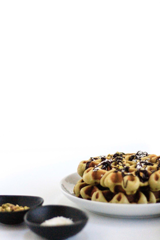 Matcha coconut waffles