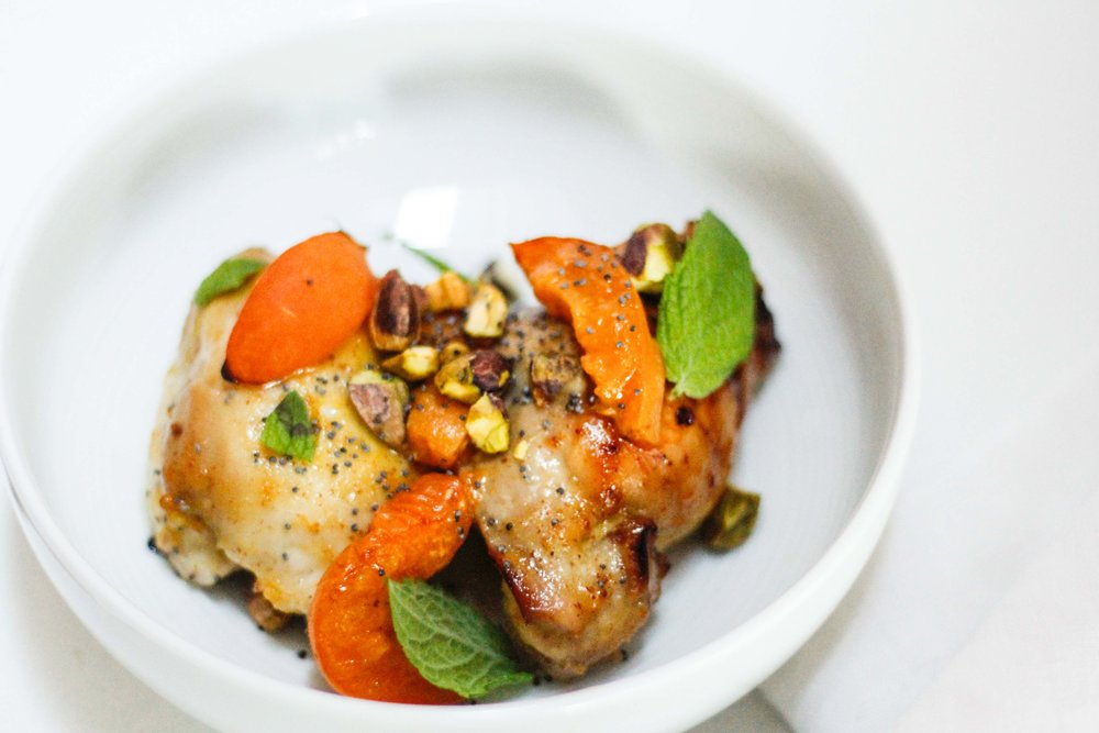 Roasted apricot chicken