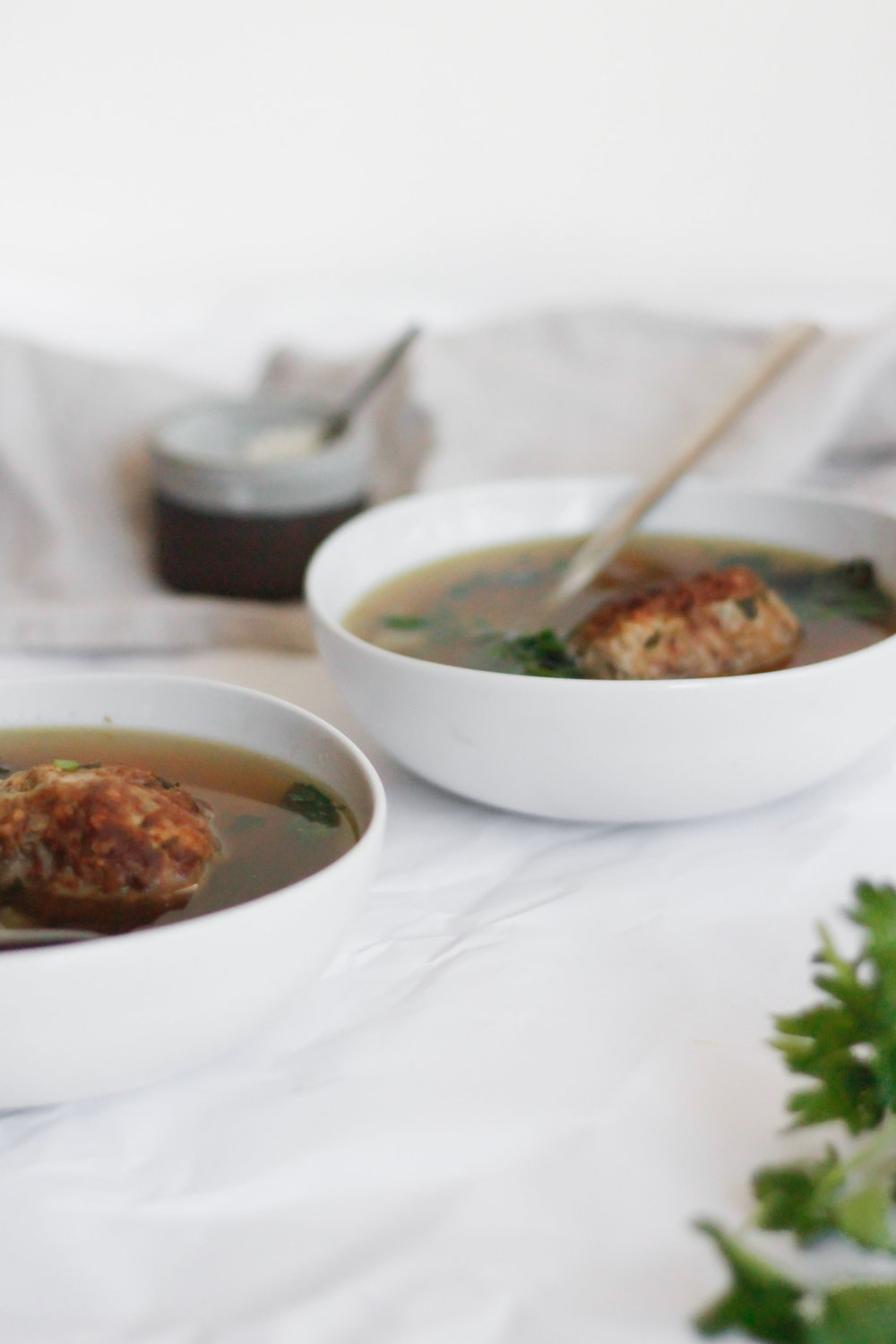 Italian wedding soup with giant meatballs