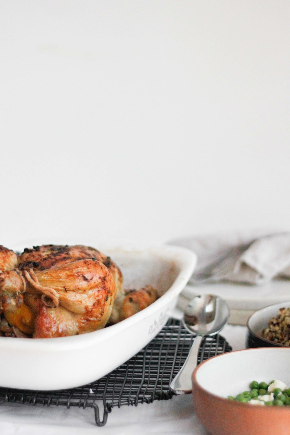 Whole roasted lemon caper chicken