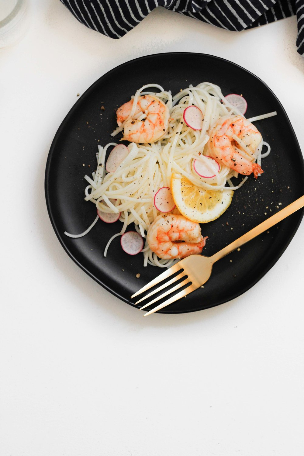 Shrimp with lemon pepper vinaigrette