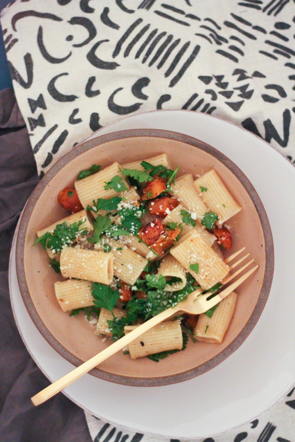 Brown butter sage rigatoni with roasted butternut squash