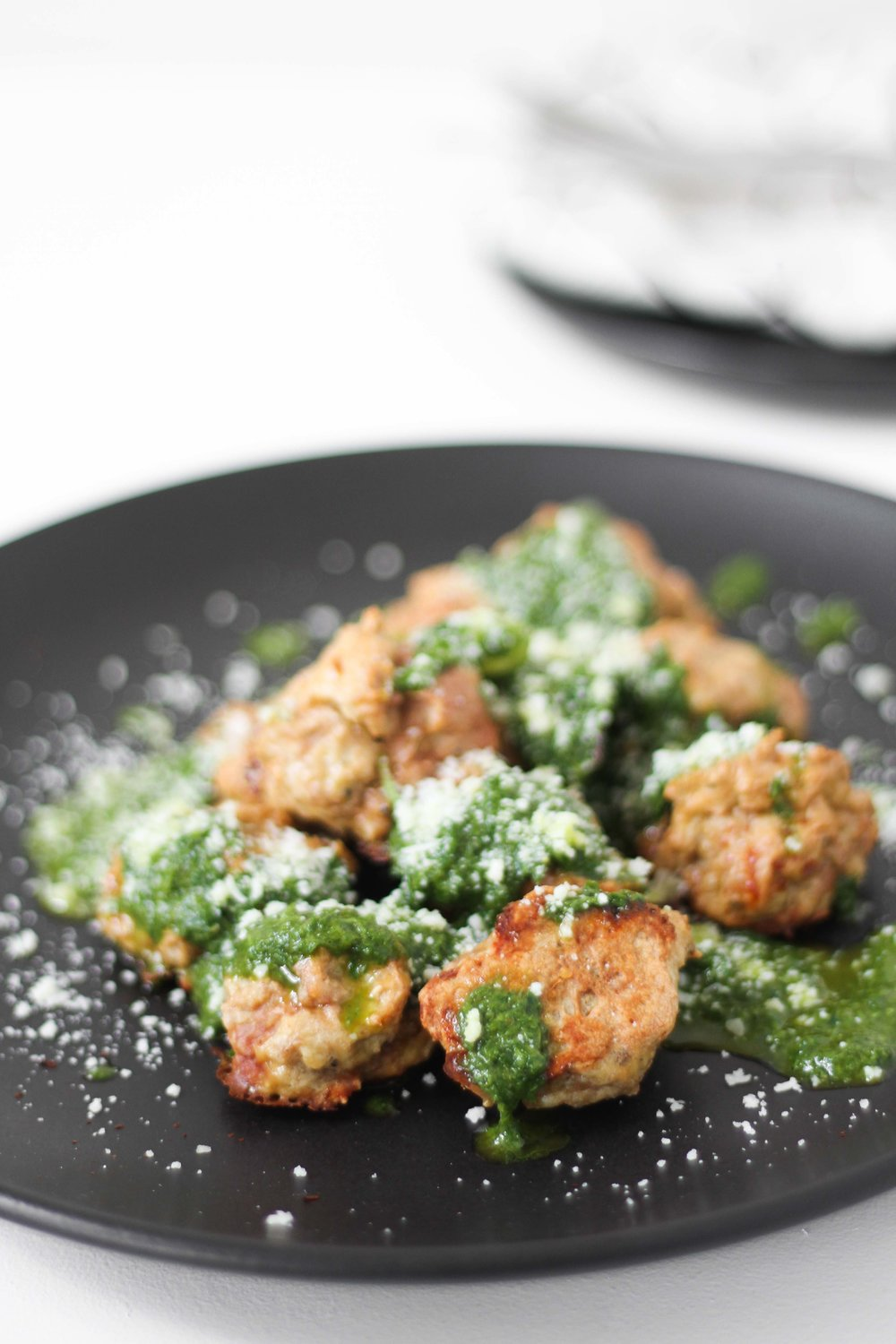 Turkey meatballs with chimichurri