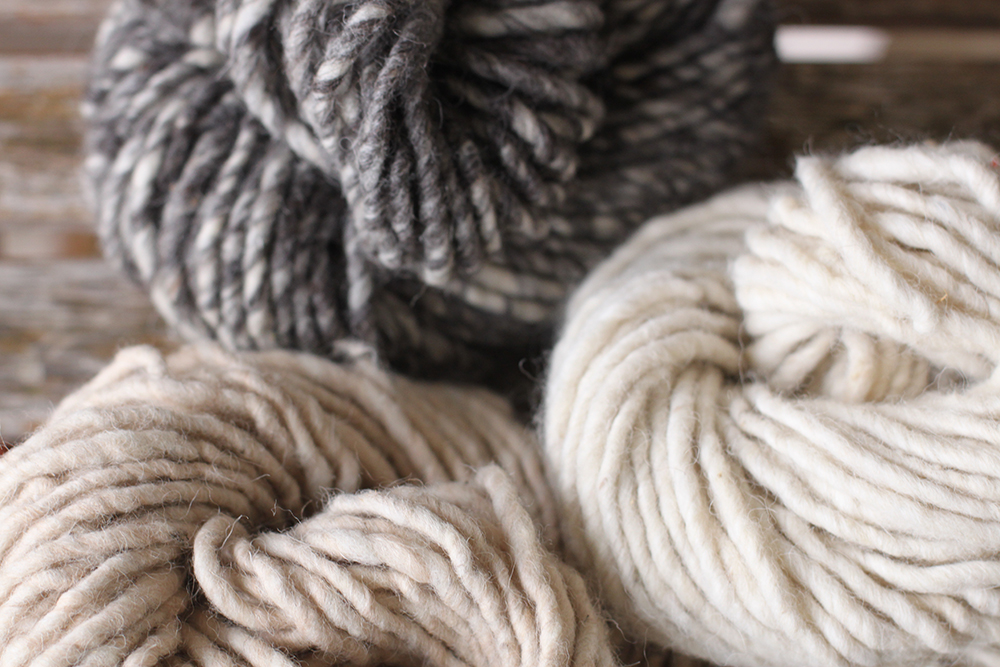 Three gorgeous natural shades in our new Spira Hand Spun Clockwise from top: Mid grey, white and fawn