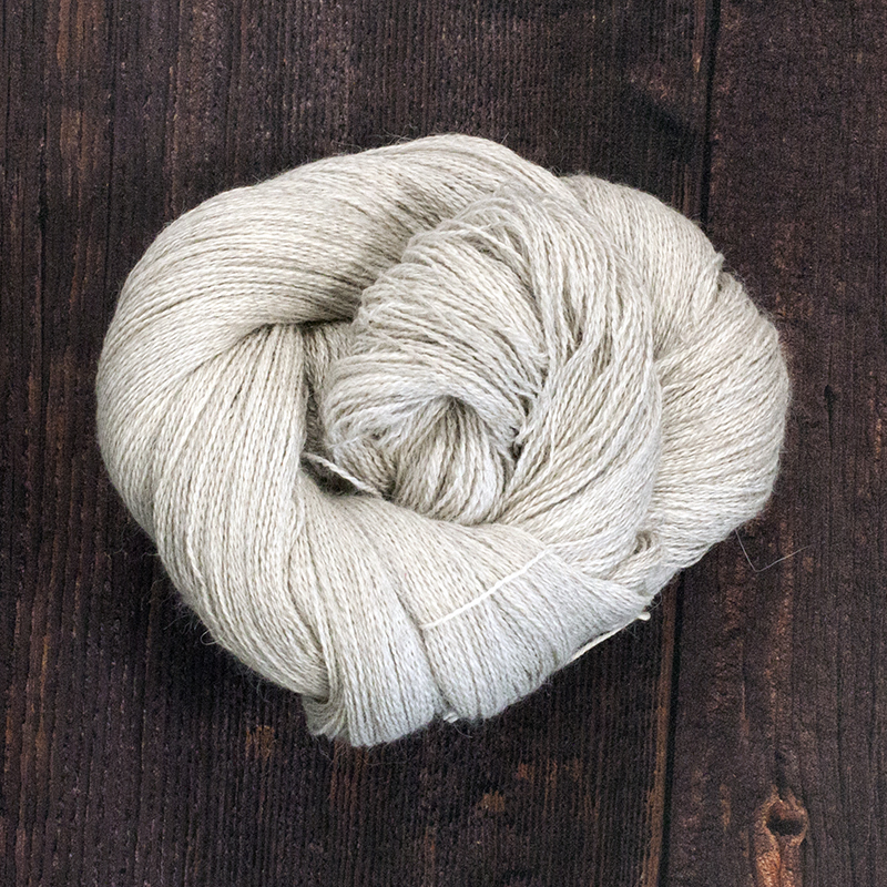 Type 49037 Natural Grey Angel   70% Natural Grey Alpaca  20% Silk   10% Cashmere 100g Hanks   800m per 100g  2/16nm