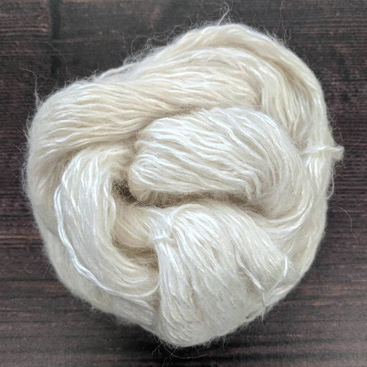 Type 49187  Silk Kid Fluff 4ply  69% Silk 22% Kid Mohair  9% Polyamide  100g Hanks 350m per 100g 1/3.5nm