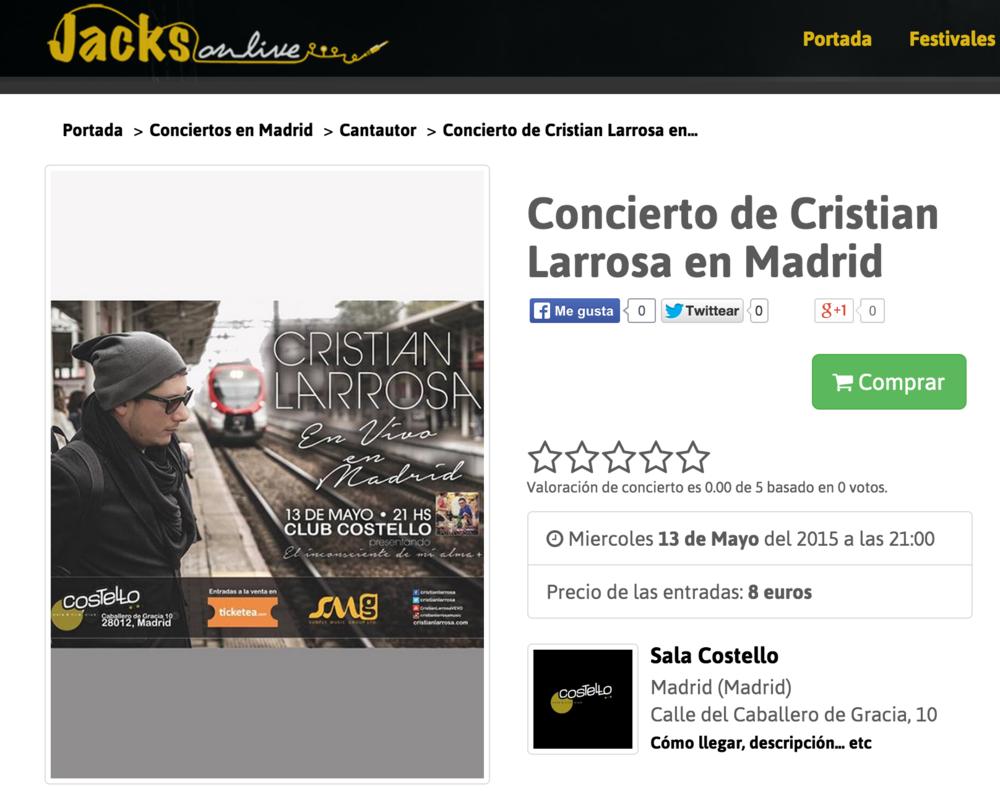 Concierto de Cristian Larrosa en Madrid