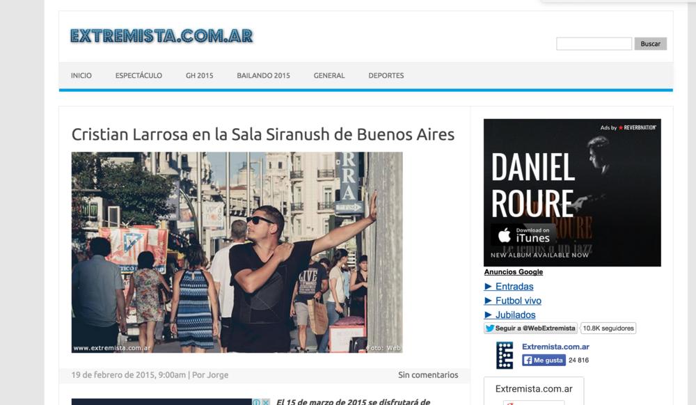 Cristian Larrosa en la sala Siranush de Buenos Aires