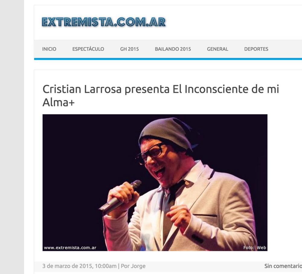 Cristian Larrosa Presenta el Inconsciente de mi Alma+