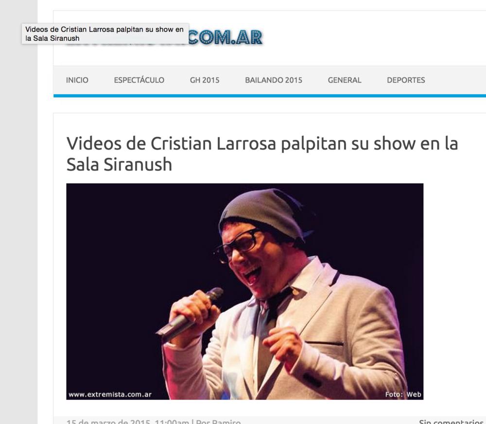Videos de Cristian Larrosa palpitan su show en Sala Siranush