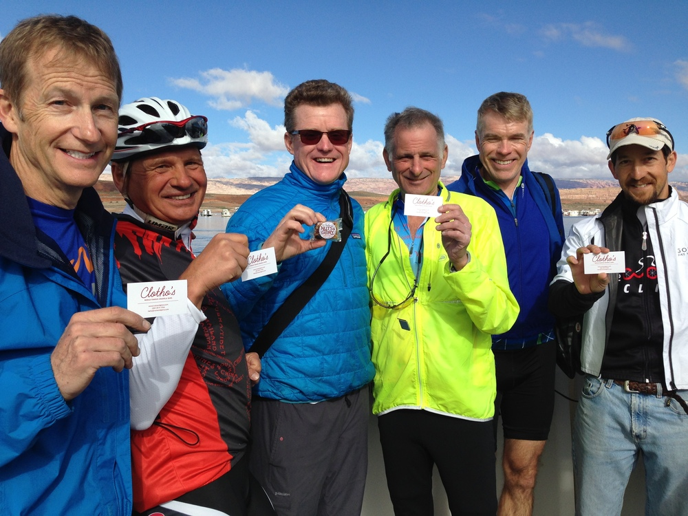 Jeff, Andrew, Will, Fred, Daryl, and Brant posed for this photo on the Lake Powell ferry crossing. They were traveling across Utah by bike and eating Nuts and Glory along the way!
