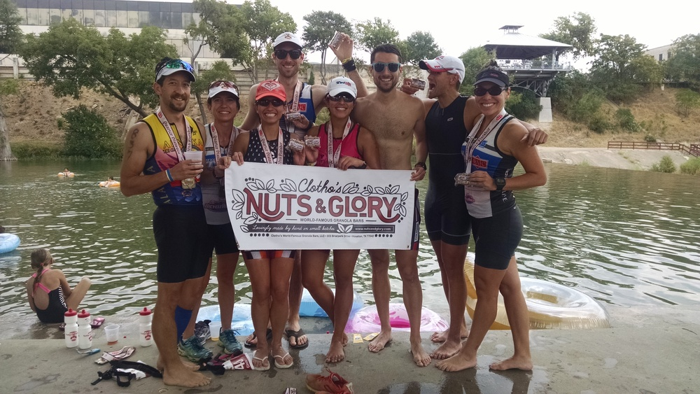 Team TriMAC after a triumphant performance at the 2015 Kerrville Triathlon festival in Kerrville, Texas. Many, many thanks to the team for its continued support of Nuts and Glory!