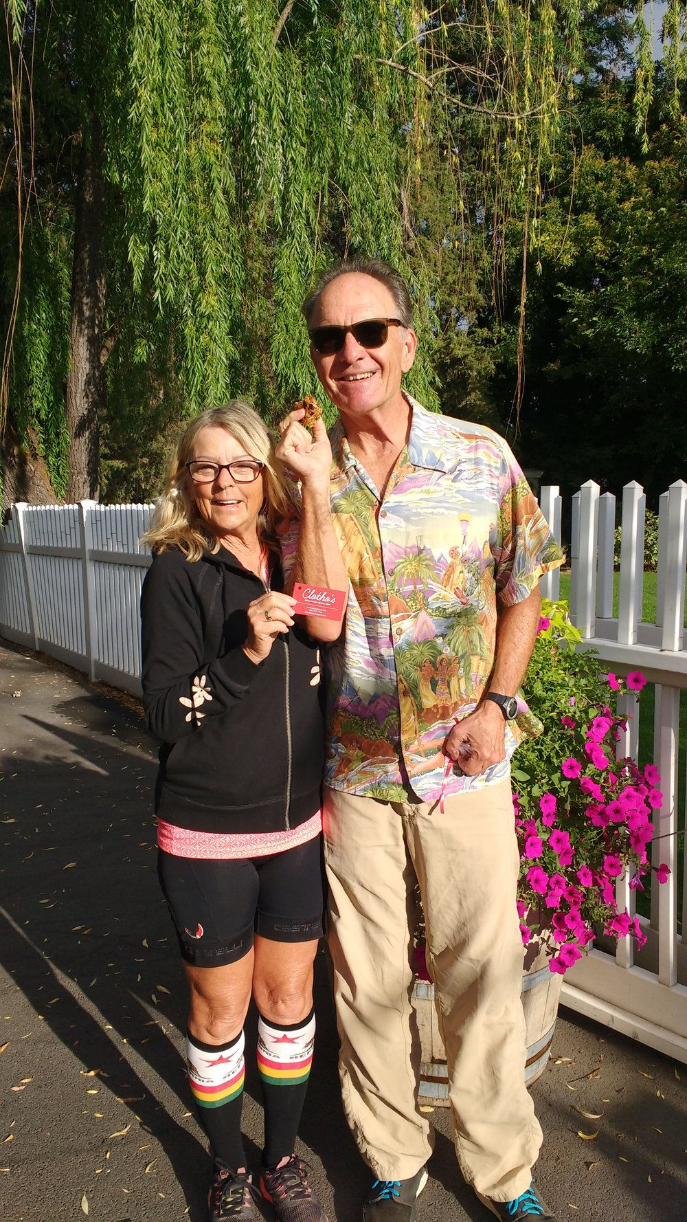 Romance novelist Kat Drennan and her muse/sweetheart/main squeeze Fred shared this photo from the garden of the Birchfield Inn near Yakima, Washington. They started the day sharing a Nuts and Glory granola bar in the sunshine before bicycling through the Yakima valley.