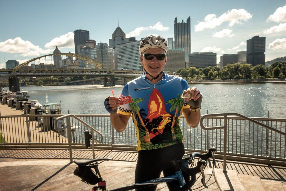 Bill from Pittsburgh sent this photo...that's downtown Pittsburgh and the Allegheny River in the background.What a gorgeous day for a bike ride!  I hear Bill leads an awesome Tuesday night ride with BikePGH.org...check it out!