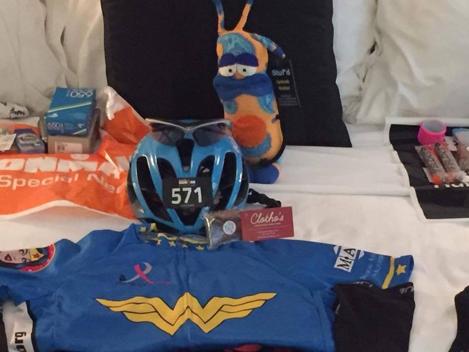 Alexandra, another incredibly strong and amazingly resilient athlete from Houston, Texas, sent this photo from her Ironman Canada pre-race preparations. I'm honored that she chooses to fuel her body for a full distance Ironman race with Nuts and Bolts. Check out the Wonder Woman jersey...that's Alex, a true life wonder woman!