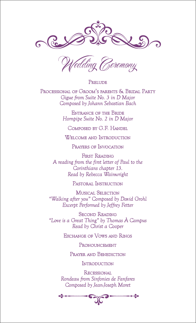 Ceremony Card - Back
