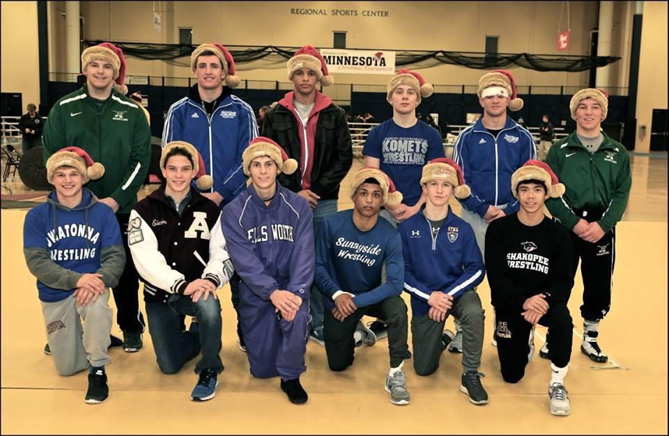 2016 Christmas Tournament Champions - First Row (L to R) 145 Peyton Robb/Outstanding Wrestler (Owatonna, MN) , 138 Tyler Eischens (Anoka, MN), 132 Sam Stuhl (Ellsworth, WI), 126 Roman Bravo-Young (Sunnyside, AZ), 120 Patrick McKee (STMA, MN), 113 Aaron Cashman (Shakopee, MN), 2nd Row (L to R) 285 Brandon Metz (West Fargo, ND), 220 Noah Ryan (Kasson-Mantorville, MN), 195 Daniel Kerkvliet (Simley, MN), 170 Patrick Kennedy (Kasson-Mantorville, MN), 160 Brady Berge (Kasson-Mantorville, MN), 152 Jared Franek (West Fargo, ND) - Missing Champions: 125 Anthony Talamonti (Marion Catholic, IL) and 182 Kordell Norfleet (Marian Catholic (IL)
