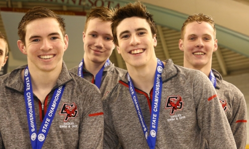 200 Freestyle Relay Eden Prairie - Josh Withers (11), Nicholas Tullemans (11), Soren Dunn (9), Jordan Greenberg (12) Photo credit: MN Prep Photo