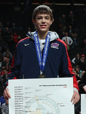 Class A 106 Champion Blake Legred (10th) United South Central Photo credit: MN Prep Photo