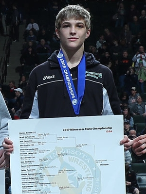 Class A 120 Champion Hunter Burnett (11th) Pipestone Photo credit: MN Prep Photo