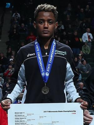 Class A 126 Champion Michael Suda (11th) Pipestone Photo credit:MN Prep Photo