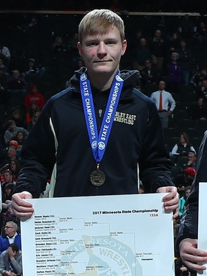 Class A 132 Champion Tanner Pasvogel (12th) Sibley East Photo credit: MN Prep Photo