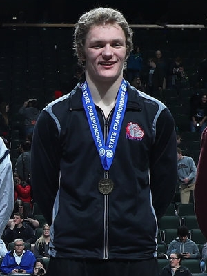 Class A 195 Champion Christopher Bain (12th) Grand Meadow/Leroy-Ostrander/Southland Photo credit:MN Prep Photo