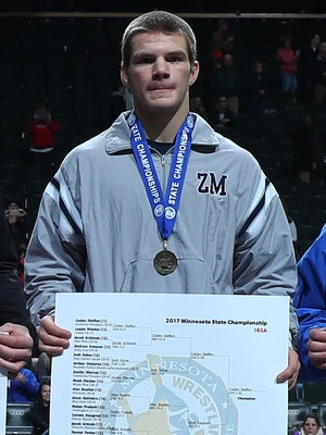 Class A 182 Champion Caden Stephen (11th) Zumbrota-Mazeppa Photo credit: MN Prep Photo