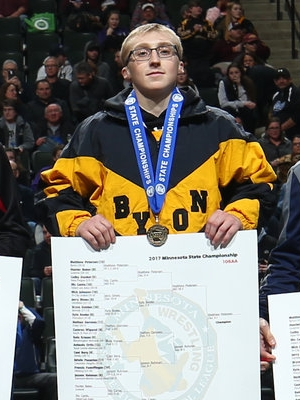 Class AAA 106 Champion Matthew Petersen (12th) Byron Photo credit:MN Prep Photo