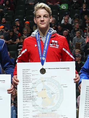 Class AA 113 Champion Charlie Pickell (9th)  Mankato West Photo credit: MN Prep Photo