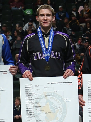 Class AA 120 Champion Garrett Vos (12th) Waconia Photo credit: MN Prep Photo