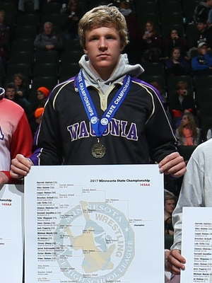 Class AA 145 Champion Tyler Wagener (11th)  Waconia Photo credit: MN Prep Photo