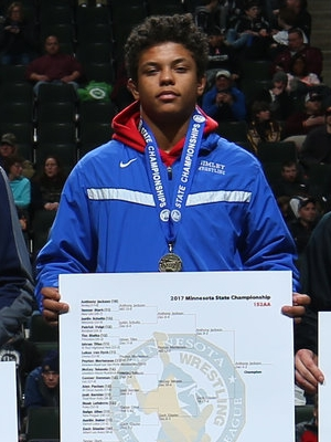 Class AA 152 Champion Anthony Jackson (10th) Simley Photo credit: MN Prep Photo