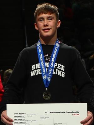 Class AAA 126 Champion Carson Manville (8th) Shakopee Photo credit:MN Prep Photo
