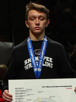 Class AAA 132 Champion Brent Jones (12th) Shakopee Photo credit: MN Prep Photo