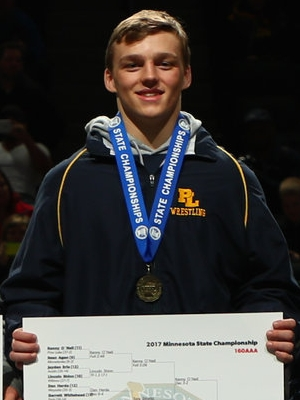 Class AAA 160 Champion Kenny O`Neil (11th)  Prior Lake Photo credit: MN Prep Photo