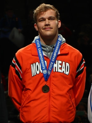 Class AAA 195 Champion Samuel Grove (12th)  Moorhead Photo credit: MN Prep Photo