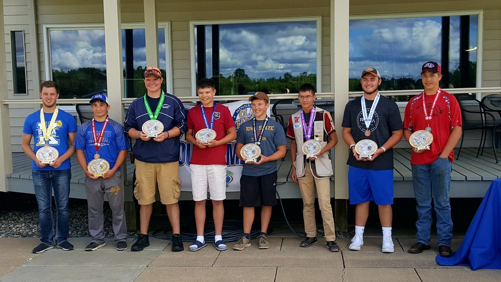 Names of team members: Cody Schoen - STMA (4th), Jake Nohre - Brandon-Evansville (6th), Jesse Groen - Blaine (5th), Woodrow Glazer - New Prague High School (Champion), Jake Johnson - Lakeville South (8th), Zac Olson - Lakeville South (7th), Lance Bernin - STMA (3rd) & Jeremy Knight - Alexandria (2nd) Photo credit: MSHSCTL