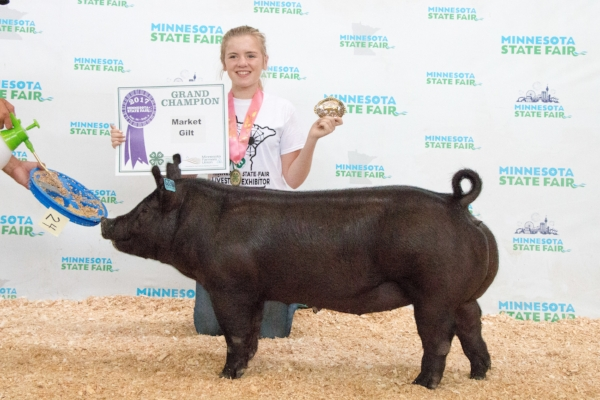 2017 Minnesota State Fair 4-H Livestock Show Grand Champion Market Gilt Aubrey Kerkaert Pipestone / Pipestone County
