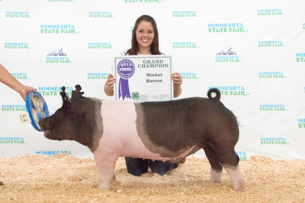 2017 Minnesota State Fair 4-H Livestock Show    Grand Champion Market Swine    Ashlyn Reuter    Southland / Mower County