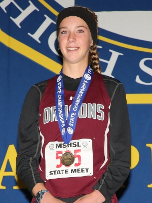 Class A Girls Champion    Tierney Wolfgram    Math & Science Academy    Photo Credit:   MN Prep Photo
