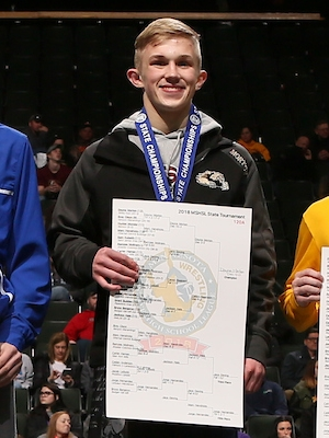 Class A 120 Champion    Dayne Morton    Sibley East    Photo credit:    MN Prep Photo