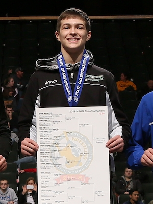 Class A 132 Champion    Hunter Burnett    Pipestone Area    Photo credit:    MN Prep Photo