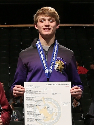 Class A 145 Champion    Brady Tweeton    Barnesville    Photo credit:    MN Prep Photo