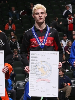 Class AA 113 Champion    Jaxson Rohman    Fairmont/Martin County West    Photo credit:    MN Prep Photo