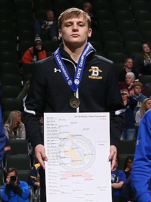 Class AA 120 Champion    Mitchel Petersen    Byron    Photo credit:    MN Prep Photo
