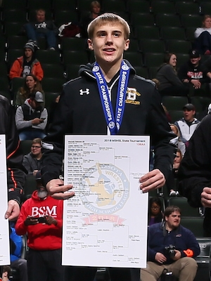 Class AAA 106 Champion    Maxwell Petersen    Byron    Photo credit:    MN Prep Photo
