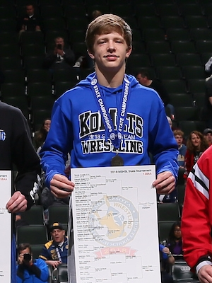 Class AA 138 Champion    Bennett Berge    Kasson-Mantorville    Photo credit:    MN Prep Photo