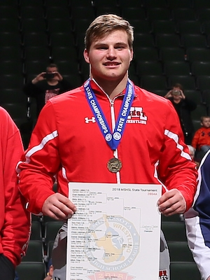 Class AA 285 Champion    Zachary Jakes    Mankato West    Photo credit:    MN Prep Photo