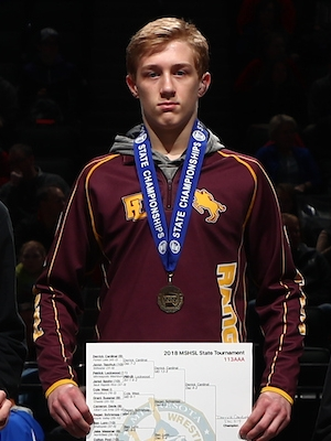 Class AAA 113 Champion    Derrick Cardinal    Forest Lake    Photo credit:    MN Prep Photo